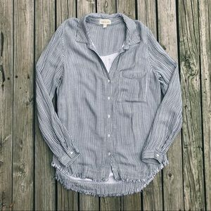 Cloth and Stone Striped Frayed Hem Button Down